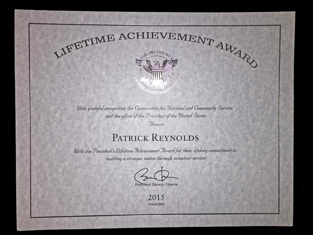 White House Lifetime Achievement award to anti-smoking advocate Patrick Reynolds from President Barack Obama, September, 2015